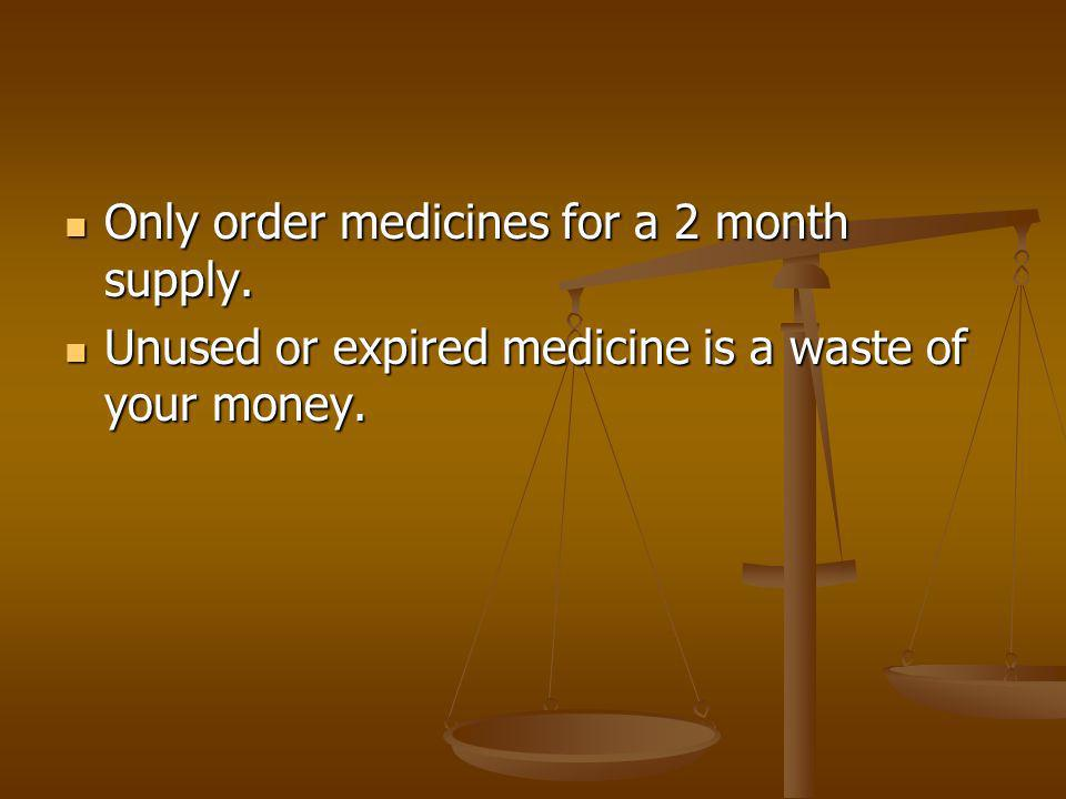 Only order medicines for a 2 month supply. Only order medicines for a 2 month supply.
