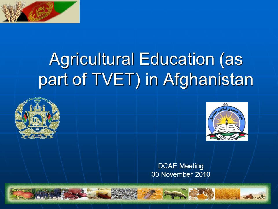 Agricultural Education (as part of TVET) in Afghanistan DCAE Meeting 30 November 2010