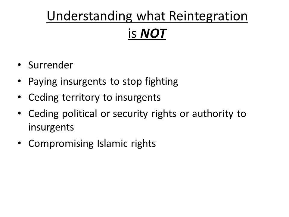 Understanding what Reintegration is NOT Surrender Paying insurgents to stop fighting Ceding territory to insurgents Ceding political or security right