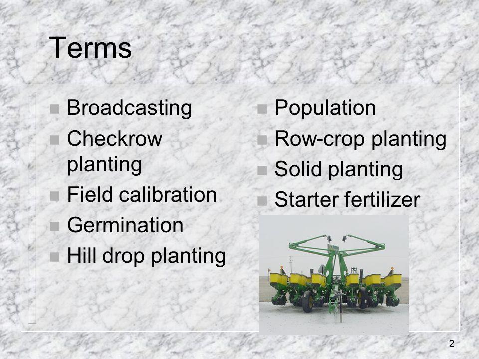 Terms n Broadcasting n Checkrow planting n Field calibration n Germination n Hill drop planting n Population n Row-crop planting n Solid planting n St