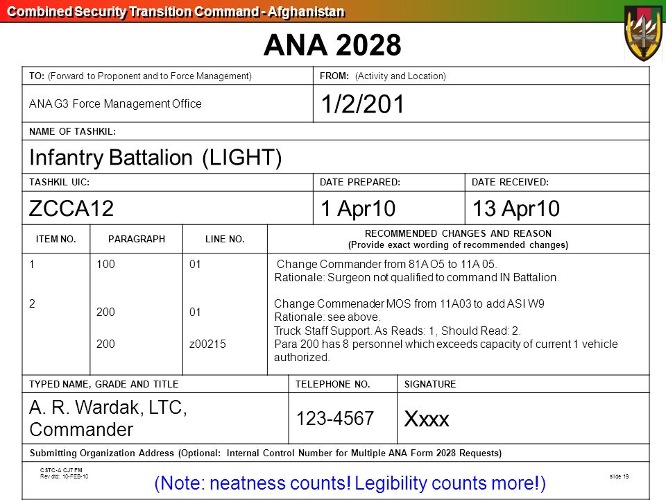 Combined Security Transition Command - Afghanistan CSTC-A CJ7 FM Rev dtd: 10-FEB-10 slide 19 ANA 2028 TO: (Forward to Proponent and to Force Managemen