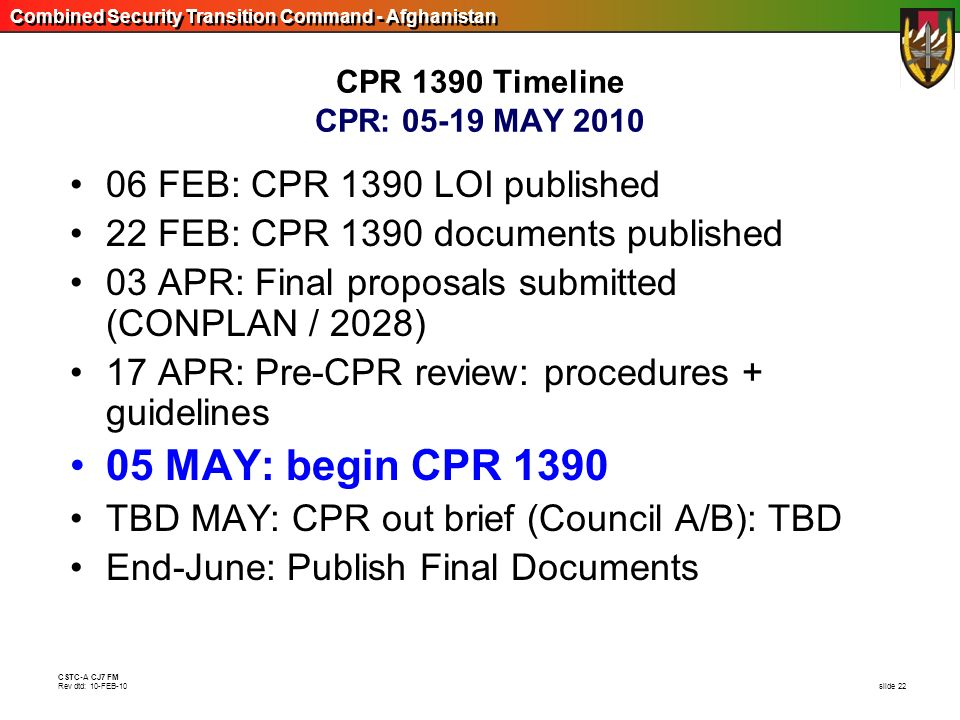 Combined Security Transition Command - Afghanistan CSTC-A CJ7 FM Rev dtd: 10-FEB-10 slide 22 CPR 1390 Timeline CPR: 05-19 MAY 2010 06 FEB: CPR 1390 LO