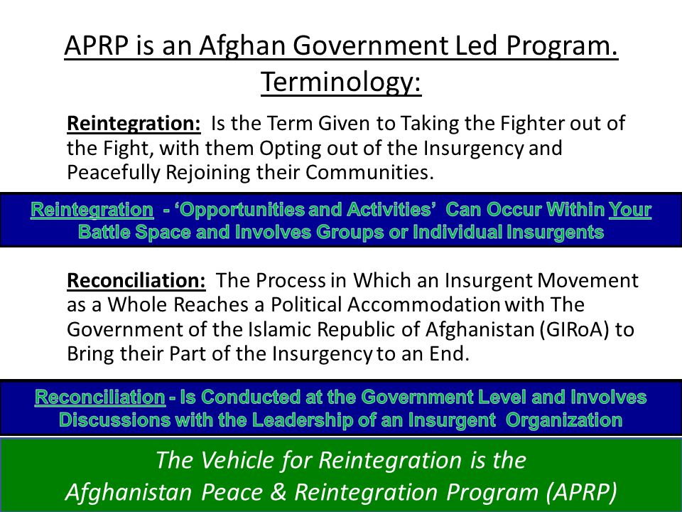 APRP is an Afghan Government Led Program. Terminology: Reintegration: Is the Term Given to Taking the Fighter out of the Fight, with them Opting out o