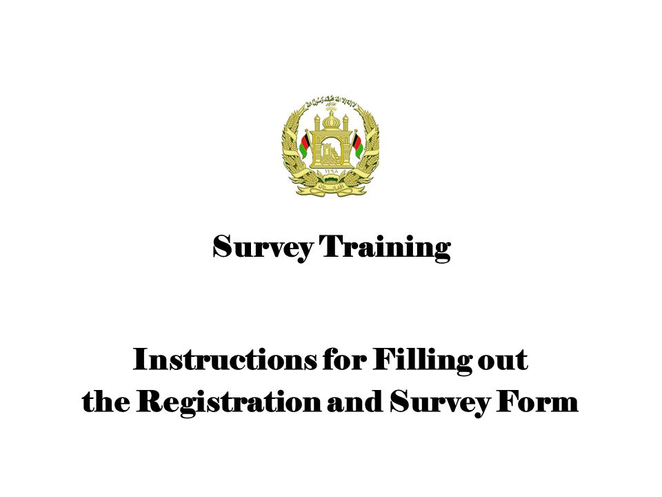 Registration and Survey Form The second form to be filled out Plays an important role in identifying the nature of grievances, and the needs and expectations of ex-insurgents Contains 9 sections –Survey Info –Personal Info –Employment/Education –Reasons for Fighting and Grievances –Motivation and Requirements / Needs for Reintegration –Miscellaneous –Contact Info –Weapons Registration –Initial Assessment of the Surveyor Filled out by the Surveyor Signed by the Surveyor