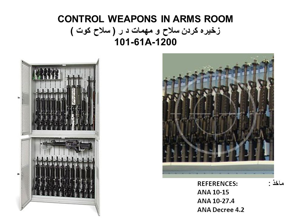 CONTROL WEAPONS IN ARMS ROOM زخیره کردن سلاح و مهمات د ر ( سلاح کوت ) 101-61A-1200 REFERENCES: ماخذ : ANA 10-15 ANA 10-27.4 ANA Decree 4.2