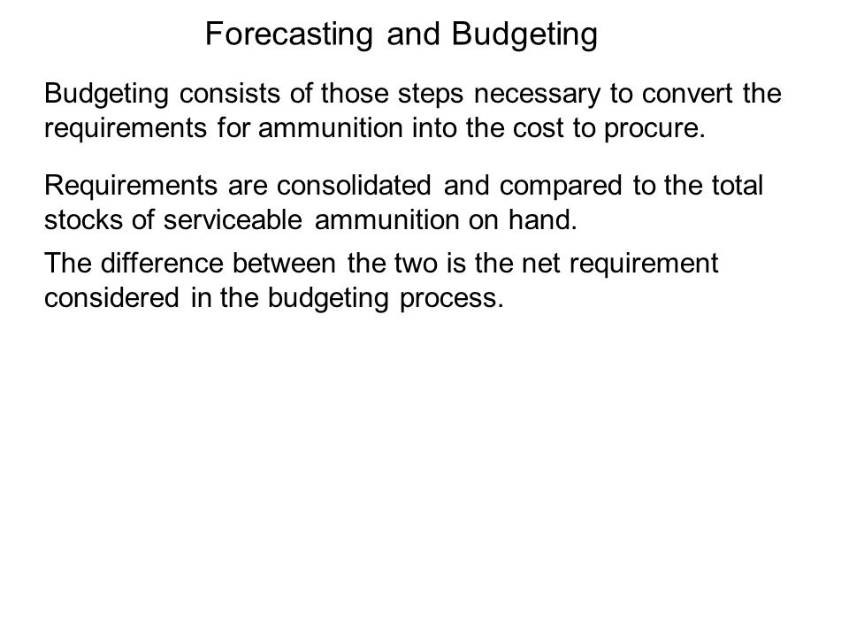 Budgeting consists of those steps necessary to convert the requirements for ammunition into the cost to procure. Requirements are consolidated and com