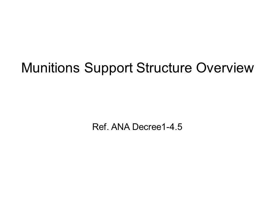The student will understand the structure, organization, and responsibilities of the ANA Staff and their responsibilities for providing required ammunition and explosives to the Corps, Brigades, and Kandaks Terminal Learning Objective 1: Munitions Support Structure Overview