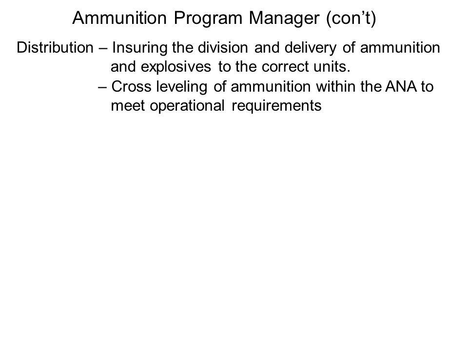 The national ammunition depot, corps ammunition depots, and ammunition transfer depots constitute the ammunition distribution system.