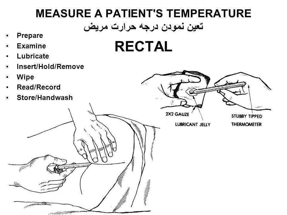 RECTAL MEASURE A PATIENT'S TEMPERATURE تعین نمودن درجه حرارت مریض Prepare Examine Lubricate Insert/Hold/Remove Wipe Read/Record Store/Handwash H