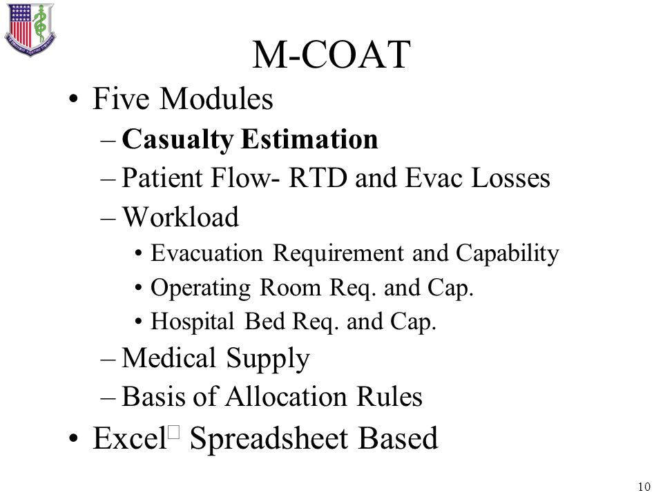 10 M-COAT Five Modules –Casualty Estimation –Patient Flow- RTD and Evac Losses –Workload Evacuation Requirement and Capability Operating Room Req. and