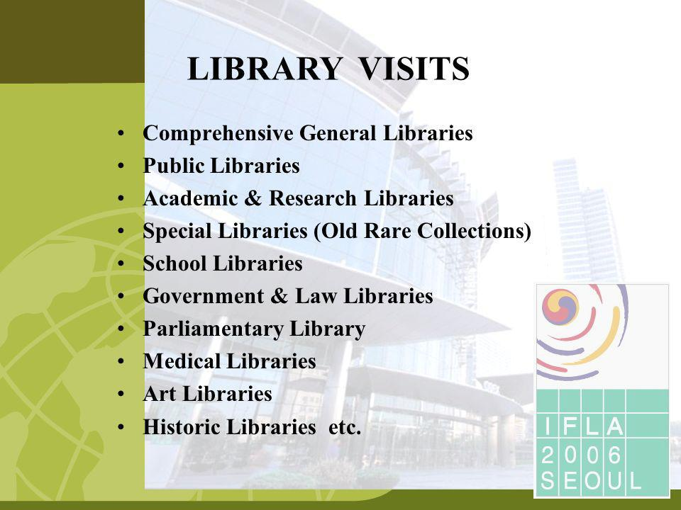 Comprehensive General Libraries Public Libraries Academic & Research Libraries Special Libraries (Old Rare Collections) School Libraries Government & Law Libraries Parliamentary Library Medical Libraries Art Libraries Historic Libraries etc.