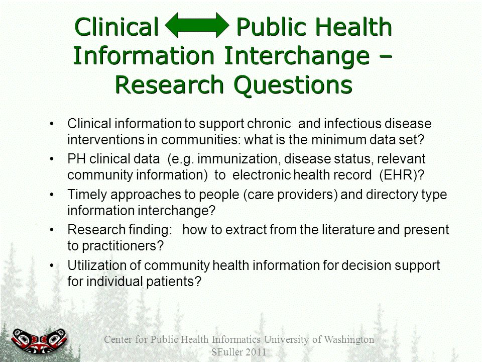 Clinical Public Health Information Interchange – Research Questions Clinical information to support chronic and infectious disease interventions in communities: what is the minimum data set.