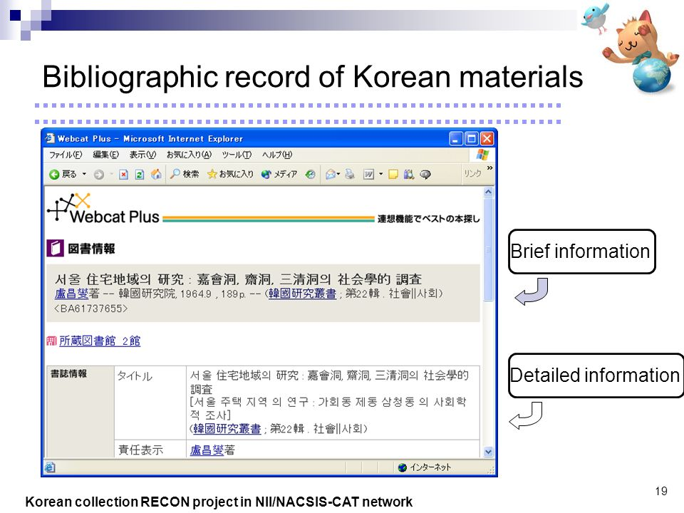 Korean collection RECON project in NII/NACSIS-CAT network 19 Bibliographic record of Korean materials Brief information Detailed information