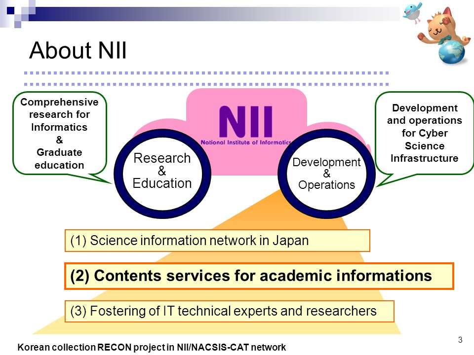 Korean collection RECON project in NII/NACSIS-CAT network 3 (2) Contents services for academic informations (1) Science information network in Japan Research & Education Comprehensive research for Informatics & Graduate education (3) Fostering of IT technical experts and researchers Development & Operations Development and operations for Cyber Science Infrastructure About NII