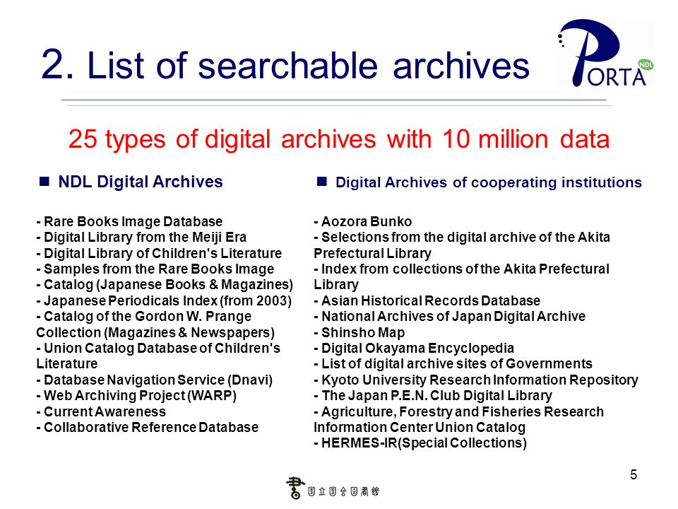 5 2. List of searchable archives 25 types of digital archives with 10 million data NDL Digital Archives - Rare Books Image Database - Digital Library