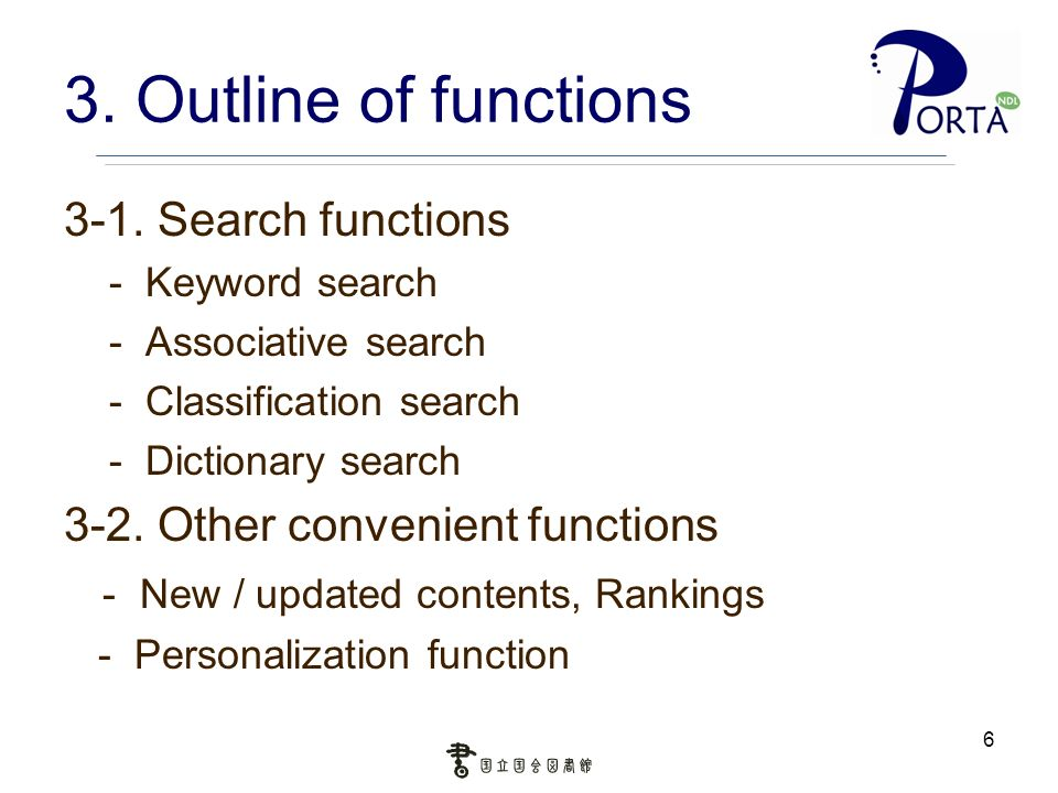 6 3. Outline of functions 3-1. Search functions - Keyword search - Associative search - Classification search - Dictionary search 3-2. Other convenien