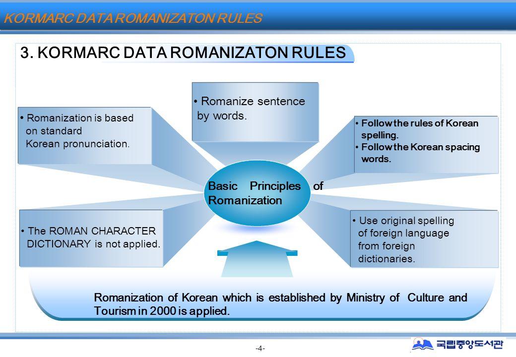 2000 ~2002 KORMARC KORMARC -4- Follow the rules of Korean spelling.