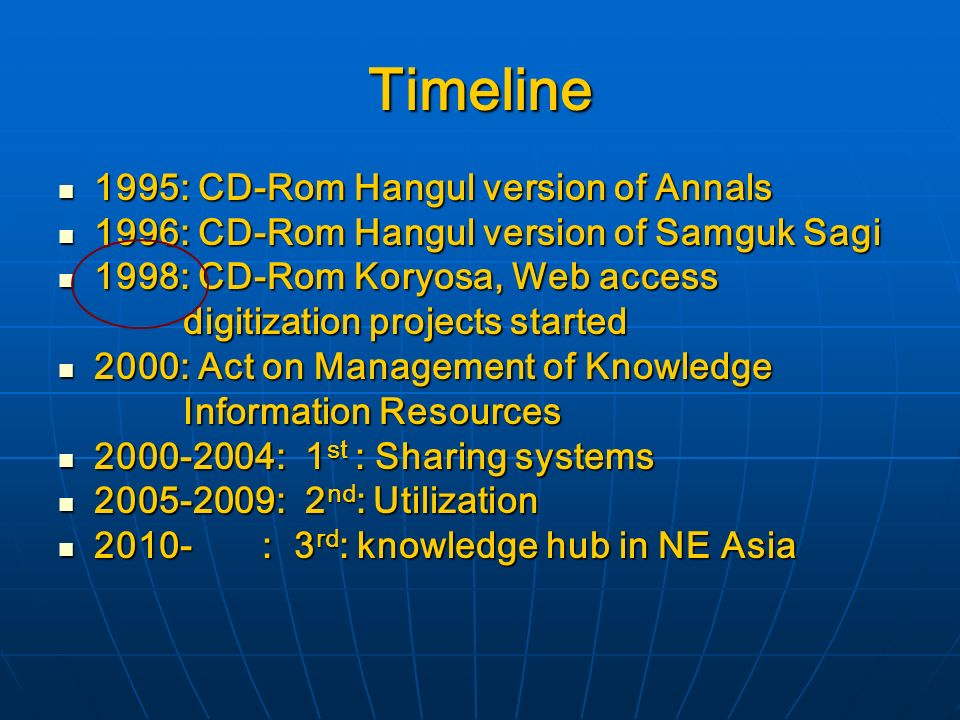 Timeline 1995: CD-Rom Hangul version of Annals 1995: CD-Rom Hangul version of Annals 1996: CD-Rom Hangul version of Samguk Sagi 1996: CD-Rom Hangul version of Samguk Sagi 1998: CD-Rom Koryosa, Web access 1998: CD-Rom Koryosa, Web access digitization projects started digitization projects started 2000: Act on Management of Knowledge 2000: Act on Management of Knowledge Information Resources Information Resources : 1 st : Sharing systems : 1 st : Sharing systems : 2 nd : Utilization : 2 nd : Utilization : 3 rd : knowledge hub in NE Asia : 3 rd : knowledge hub in NE Asia
