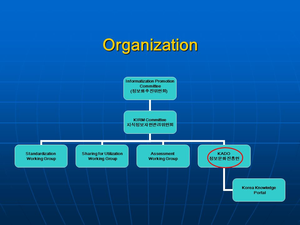 Organization Informatization Promotion Committee ( ) KIRM Committee Standardization Working Group Sharing for Utilization Working Group Assessment Working Group KADO Korea Knowledge Portal