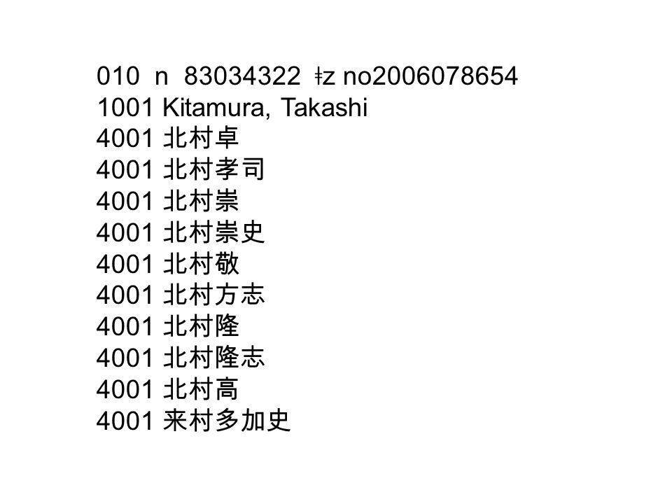 010 n 83034322 ǂ z no2006078654 1001 Kitamura, Takashi 4001