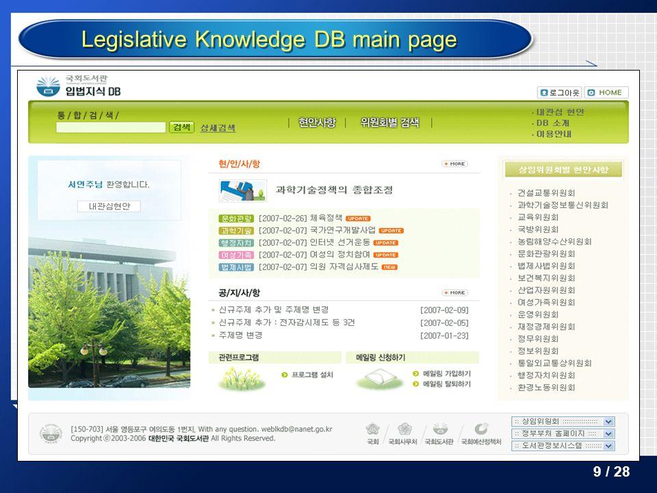Legislative Knowledge DB main page 9 / 28