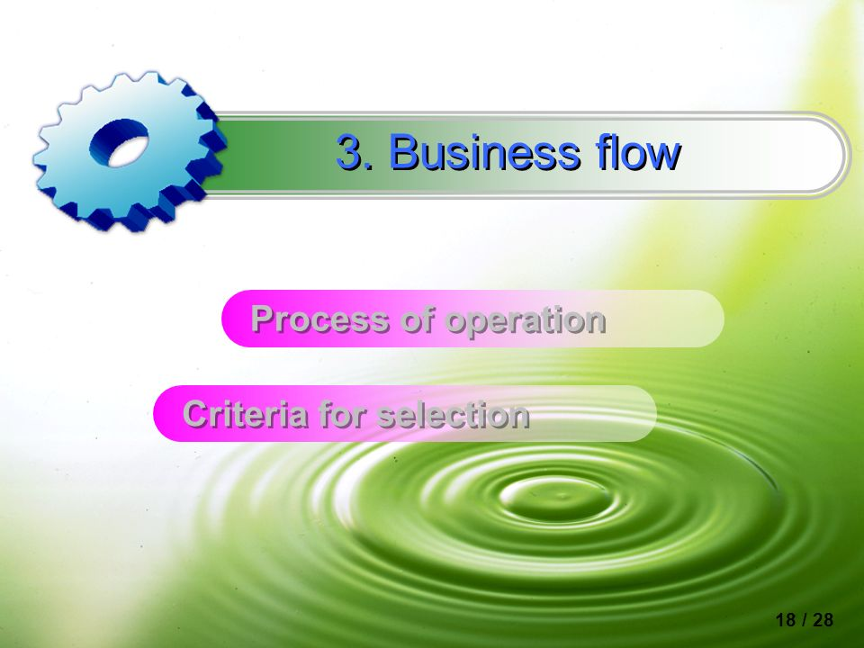 Process of operation 3. Business flow Criteria for selection 18 / 28