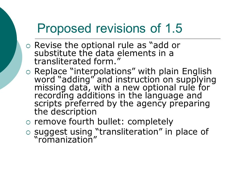 Proposed revisions of 1.5 Revise the optional rule as add or substitute the data elements in a transliterated form. Replace interpolations with plain