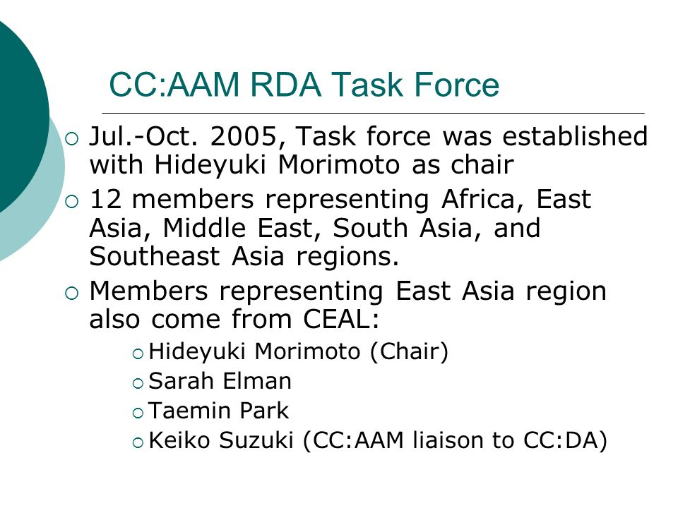 CC:AAM RDA Task Force Jul.-Oct. 2005, Task force was established with Hideyuki Morimoto as chair 12 members representing Africa, East Asia, Middle Eas