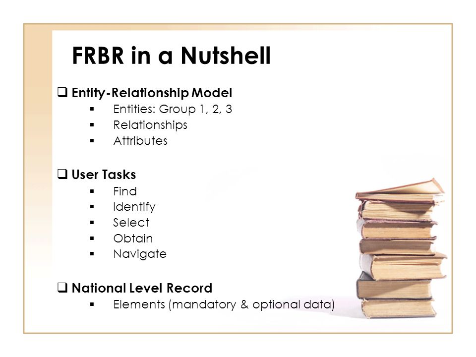 FRBR in a Nutshell Entity-Relationship Model Entities: Group 1, 2, 3 Relationships Attributes User Tasks Find Identify Select Obtain Navigate National Level Record Elements (mandatory & optional data)