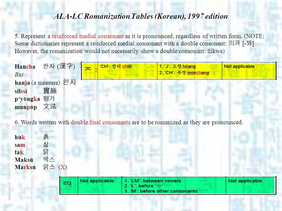 ALA-LC Romanization Tables (Korean), 1997 edition 5. Represent a reinforced medial consonant as it is pronounced, regardless of written form. (NOTE: S