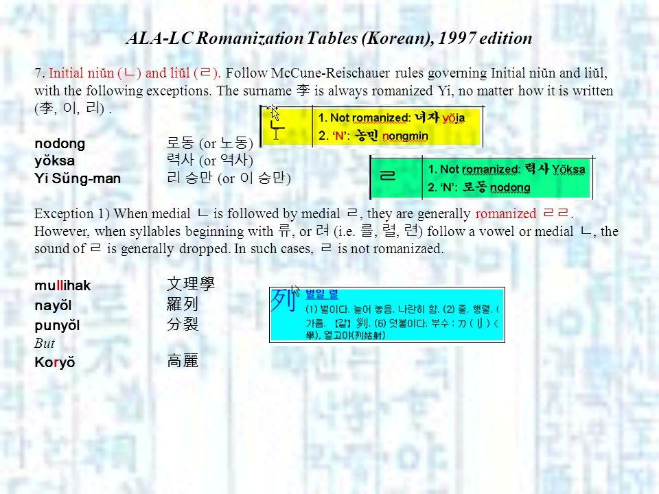 ALA-LC Romanization Tables (Korean), 1997 edition 7. Initial niŭn ( ) and liŭl ( ). Follow McCune-Reischauer rules governing Initial niŭn and liŭl, wi