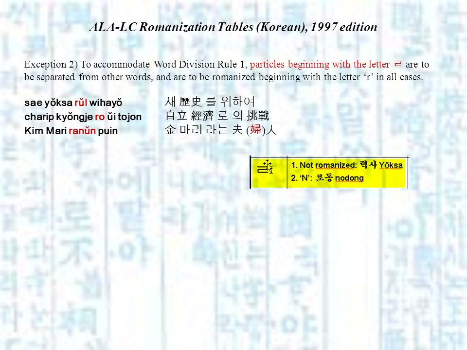 ALA-LC Romanization Tables (Korean), 1997 edition Exception 2) To accommodate Word Division Rule 1, particles beginning with the letter are to be sepa