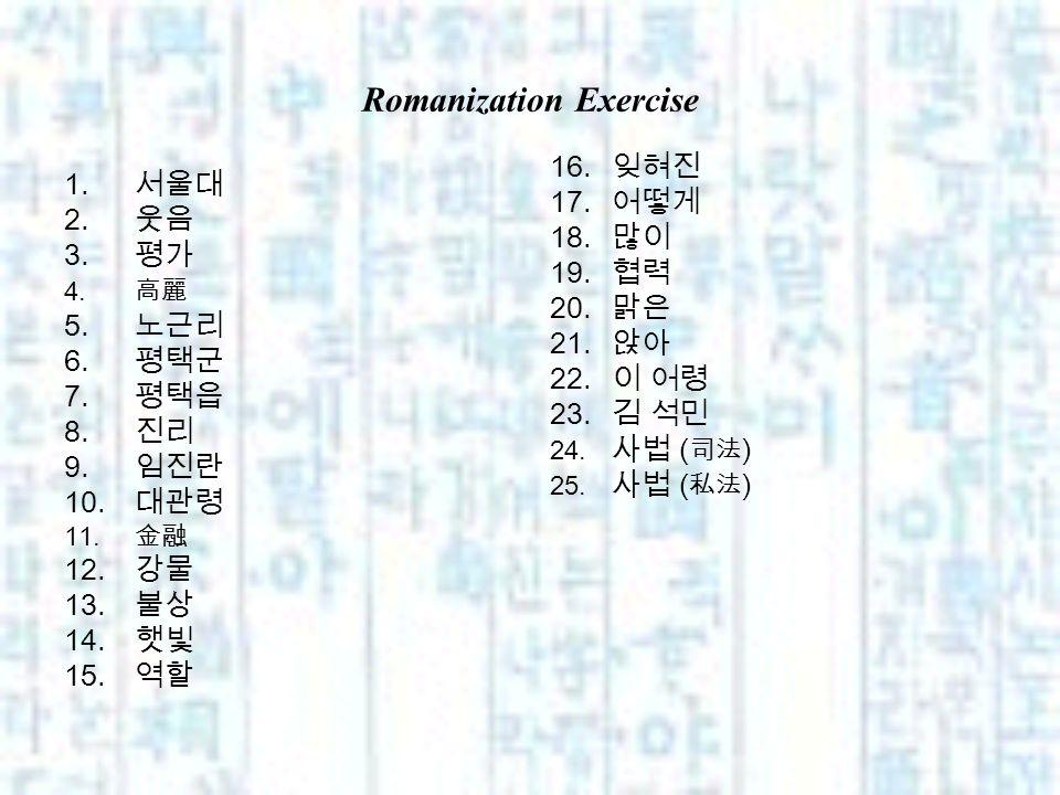 Romanization Exercise 1. 2. 3. 4. 5. 6. 7. 8. 9. 10. 11. 12. 13. 14. 15. 16. 17. 18. 19. 20. 21. 22. 23. 24. ( ) 25. ( )