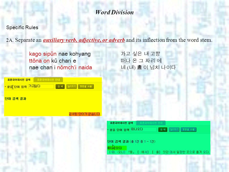 Word Division Specific Rules 2A. Separate an auxiliary verb, adjective, or adverb and its inflection from the word stem. kago sipŭn nae kohyang ttŏna