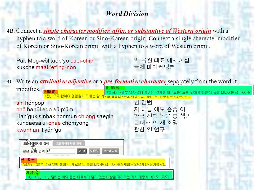 Word Division 4B. Connect a single character modifier, affix, or substantive of Western origin with a hyphen to a word of Korean or Sino-Korean origin