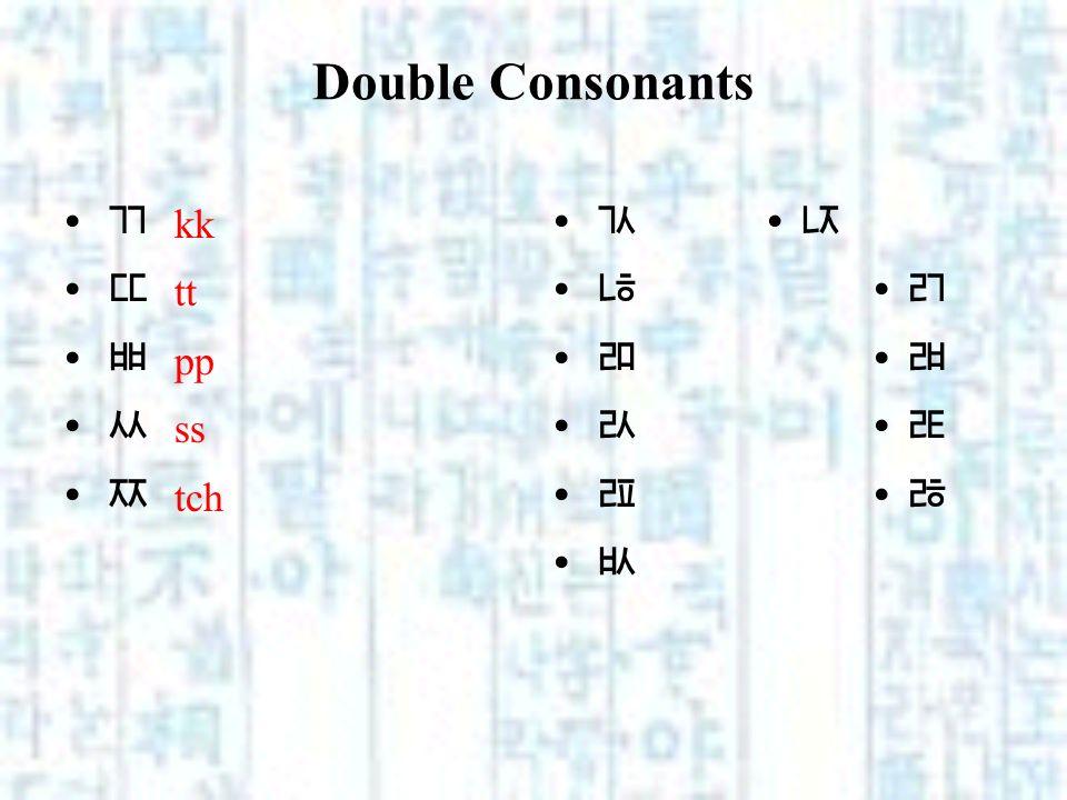 Double Consonants k t p s tch