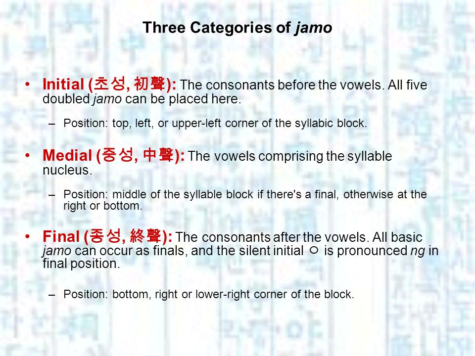 Three Categories of jamo Initial (, ): The consonants before the vowels. All five doubled jamo can be placed here. –Position: top, left, or upper-left