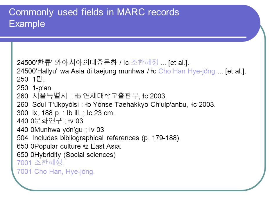 Commonly used fields in MARC records Example 24500 / ǂ c...