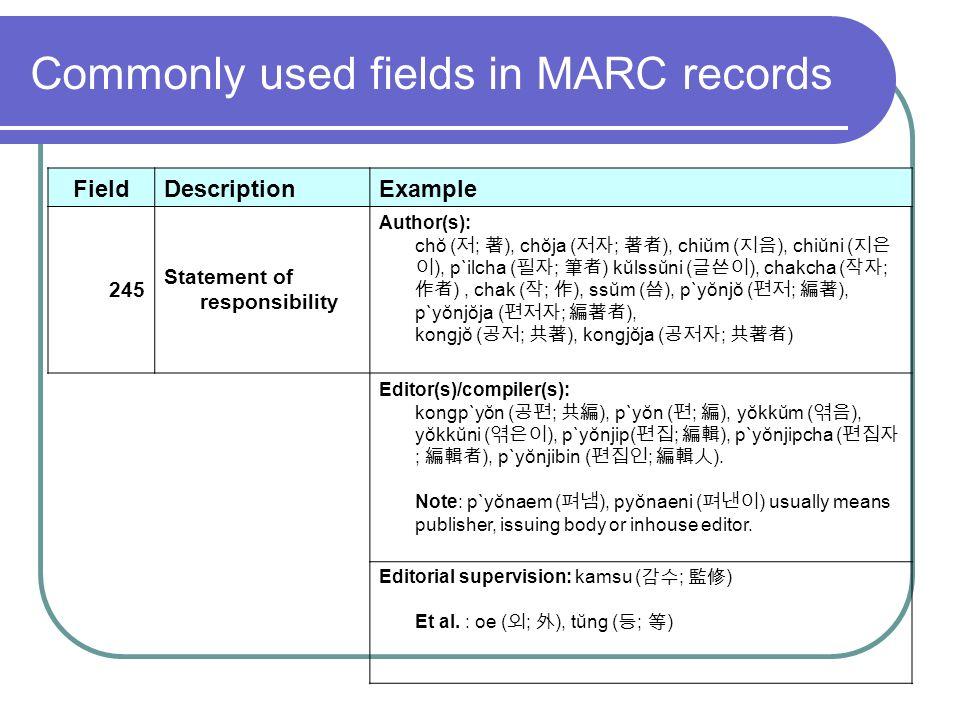 Commonly used fields in MARC records FieldDescriptionExample 245 Statement of responsibility Author(s): chŏ ( ; ), chŏja ( ; ), chiŭm ( ), chiŭni ( ), p`ilcha ( ; ) kŭlssŭni ( ), chakcha ( ; ), chak ( ; ), ssŭm ( ), p`yŏnjŏ ( ; ), p`yŏnjŏja ( ; ), kongjŏ ( ; ), kongjŏja ( ; ) Editor(s)/compiler(s): kongp`yŏn ( ; ), p`yŏn ( ; ), yŏkkŭm ( ), yŏkkŭni ( ), p`yŏnjip( ; ), p`yŏnjipcha ( ; ), p`yŏnjibin ( ; ).