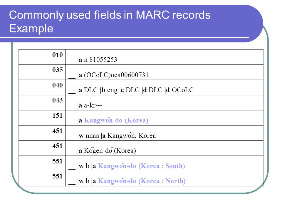 Commonly used fields in MARC records Example 010 __ |a n __ |a (OCoLC)oca __ |a DLC |b eng |c DLC |d DLC |d OCoLC 043 __ |a a-kr __ |a Kangwo ̆ n-do (Korea) 451 __ |w nnaa |a Kangwo ̆ n, Korea 451 __ |a Ko ̄ gen-do ̄ (Korea) 551 __ |w b |a Kangwo ̆ n-do (Korea : South) 551 __ |w b |a Kangwo ̆ n-do (Korea : North)