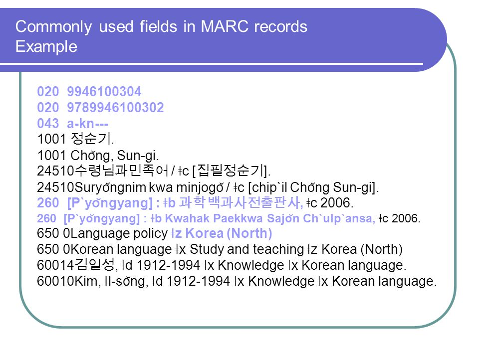 Commonly used fields in MARC records Example 020 9946100304 020 9789946100302 043 a-kn--- 1001.