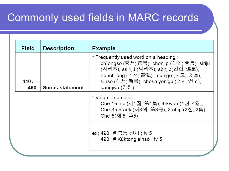 Commonly used fields in MARC records FieldDescriptionExample 440 / 490Series statement * Frequently used word on a heading : ch`ongsŏ ( ; ), chŏnjip ( ; ), sirijŭ ( ), ssirijŭ ( ), sŏnjip( ; ), nonch`ong ( ; ), mun go ( ; ), sinsŏ ( ; ), chosa yŏn gu ( ), kangjwa ( ) * Volume number : Che 1-chip ( 1 ; 1 ), 4-kwŏn (4 ; 4 ), Che 3-ch`aek ( 3 ; 3 ), 2-chip (2 ; 2 ), Che-5( 5; 5) ex) 490 1# ; ǂ v # Ku ̆ ktong sinso ̆ ; ǂ v 5