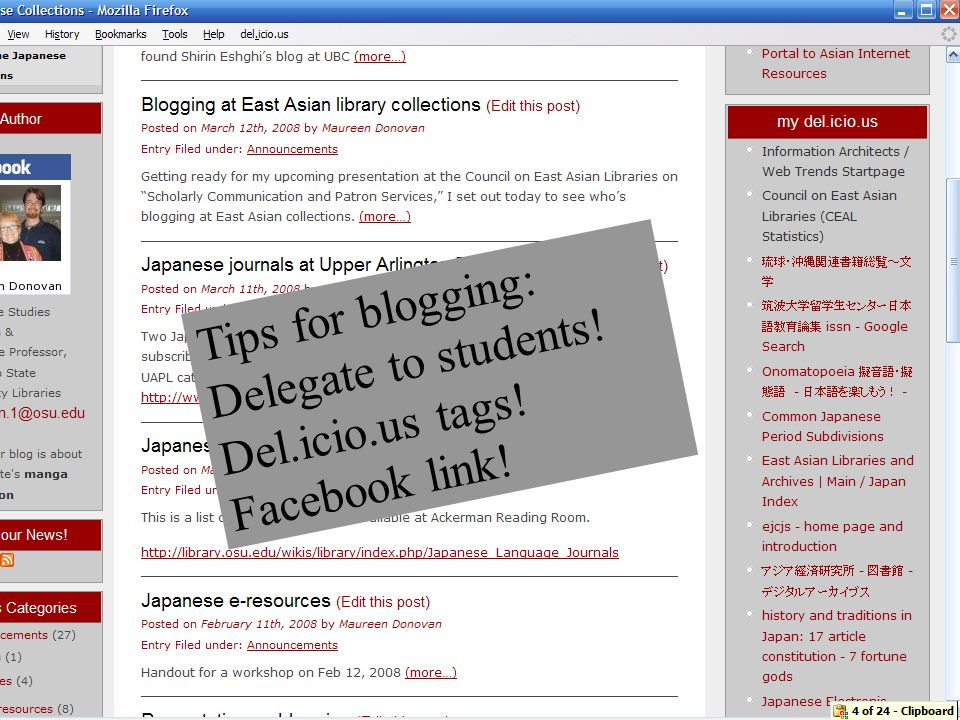 Tips for blogging: Delegate to students! Del.icio.us tags! Facebook link!