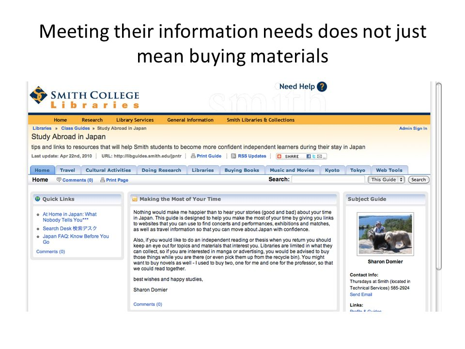 Meeting their information needs does not just mean buying materials