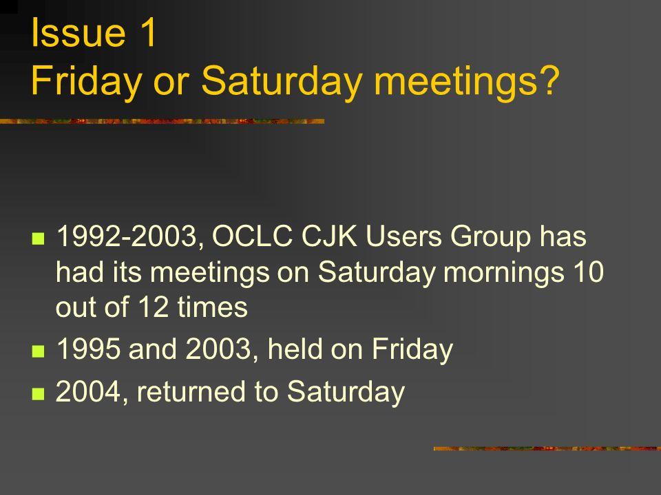Issue 2 CJK info on OCLC homepage Status Search: OCLC CJK Users http://www.oclc.org/membership/usergroups/profile18.htm Website: http://oclccjk.lib.uci.edu/ http://oclccjk.lib.uci.edu/ Changes?