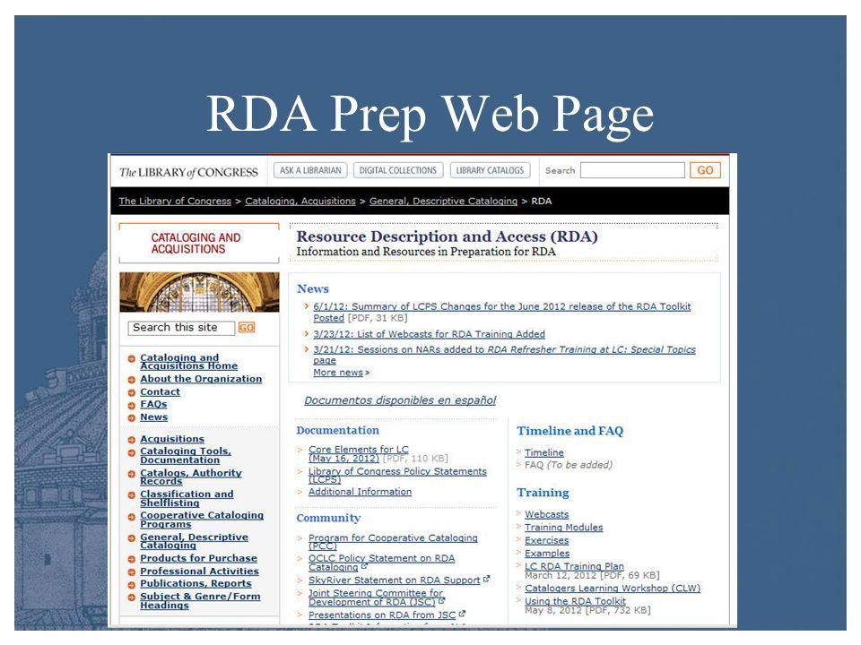 RDA Prep Web Page