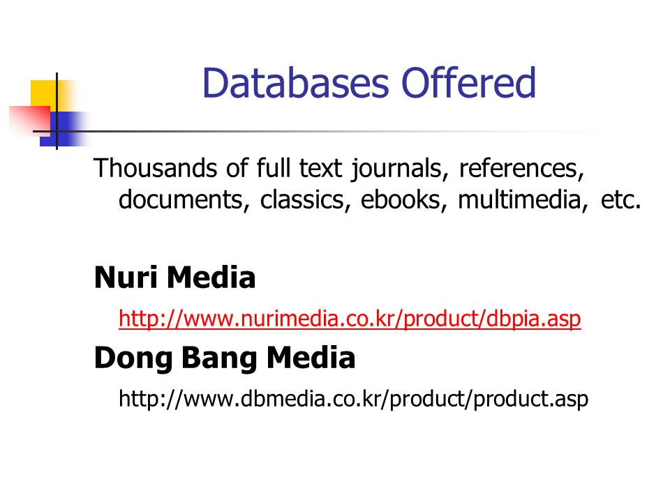 Databases Offered Thousands of full text journals, references, documents, classics, ebooks, multimedia, etc.