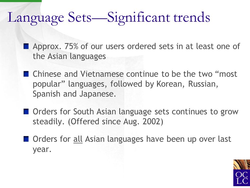 Language SetsSignificant trends Approx.