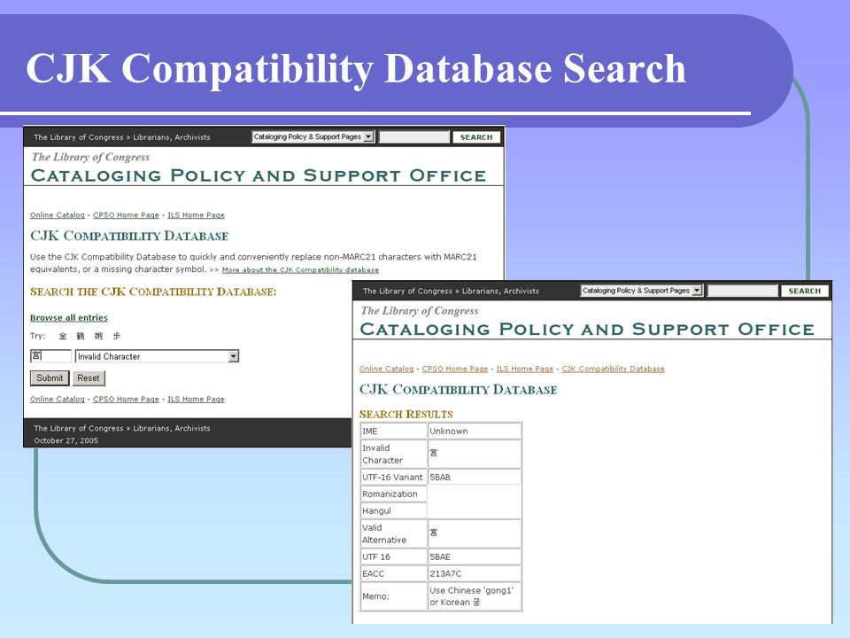CJK Compatibility Database Search