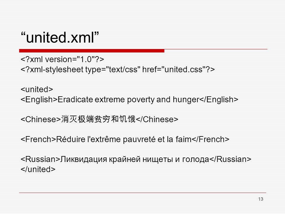 13 united.xml Eradicate extreme poverty and hunger Réduire l'extrême pauvreté et la faim Ликвидация крайней нищеты и голода